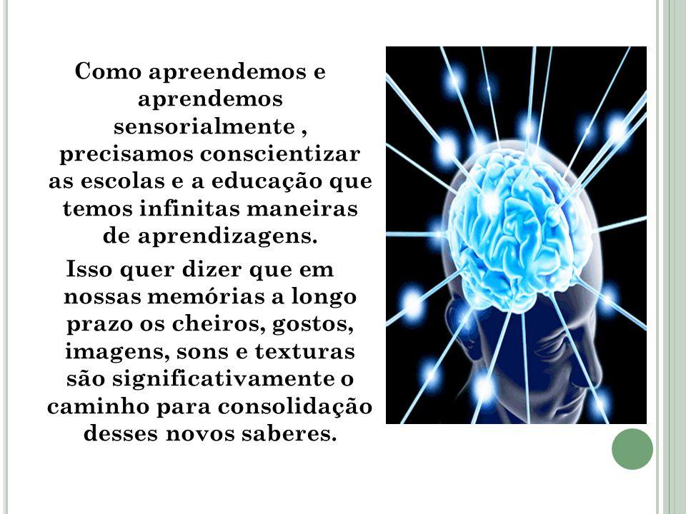 Como apreendemos e aprendemos sensorialmente , precisamos conscientizar as escolas e a educação que temos infinitas maneiras de aprendizagens.