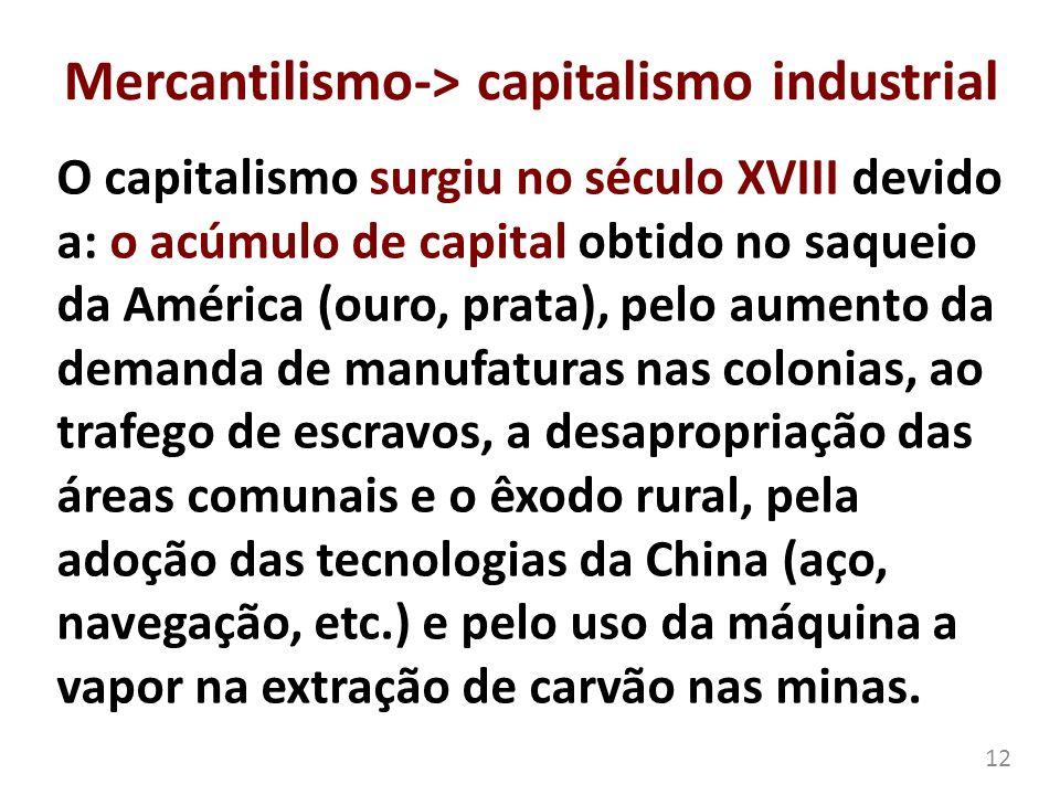 Mercantilismo-> capitalismo industrial