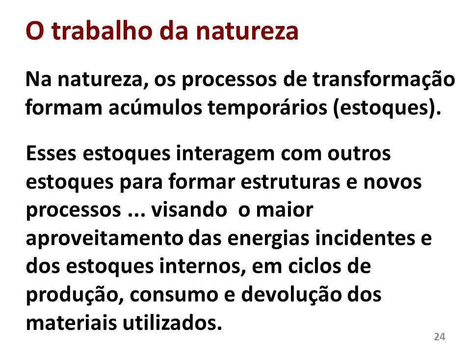 O trabalho da natureza Na natureza, os processos de transformação formam acúmulos temporários (estoques).