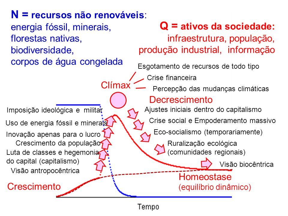 N = recursos não renováveis: Q = ativos da sociedade: