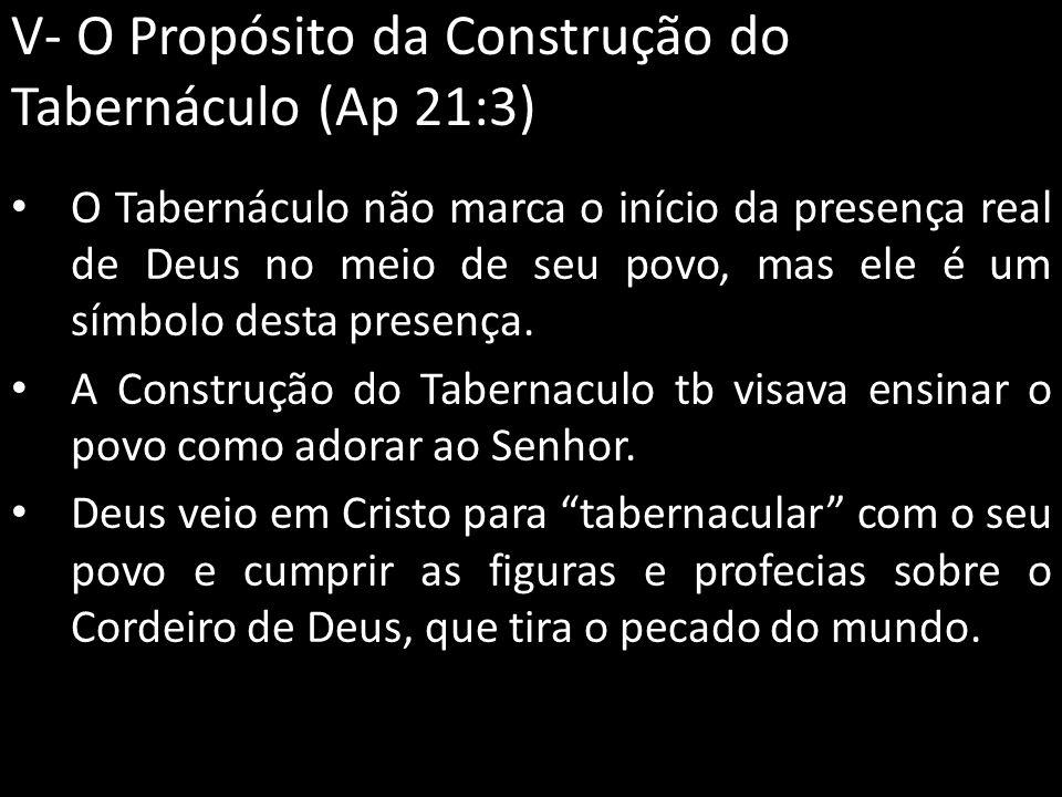 V- O Propósito da Construção do Tabernáculo (Ap 21:3)