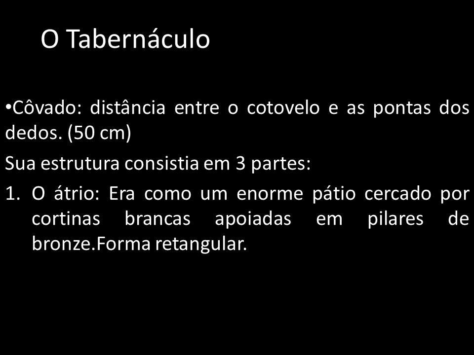 O Tabernáculo Côvado: distância entre o cotovelo e as pontas dos dedos. (50 cm) Sua estrutura consistia em 3 partes: