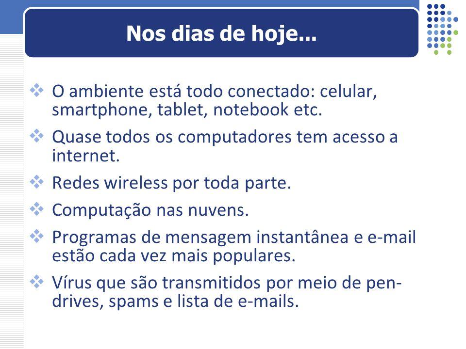 Nos dias de hoje... O ambiente está todo conectado: celular, smartphone, tablet, notebook etc. Quase todos os computadores tem acesso a internet.