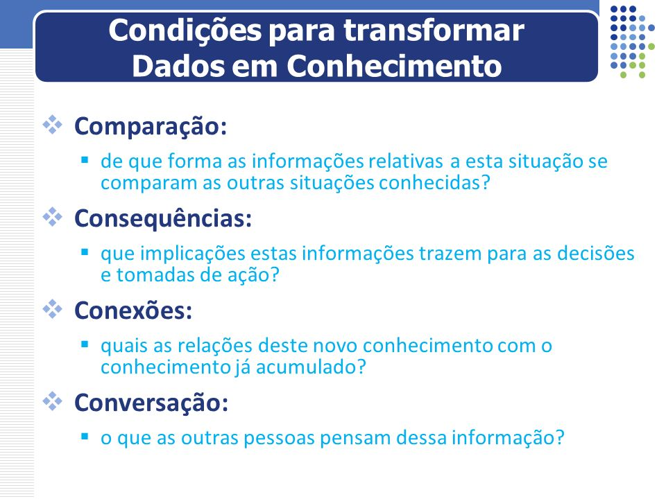Condições para transformar Dados em Conhecimento