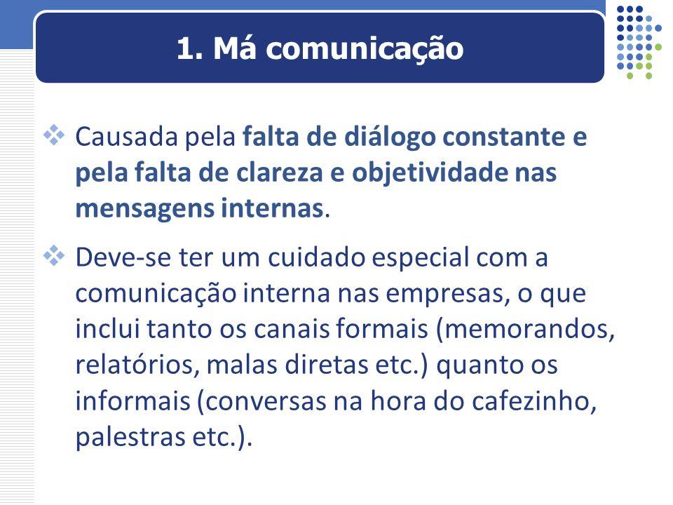 1. Má comunicação Causada pela falta de diálogo constante e pela falta de clareza e objetividade nas mensagens internas.