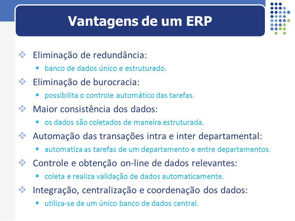 Vantagens de um ERP Eliminação de redundância: