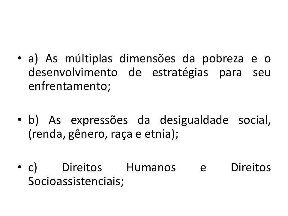 a) As múltiplas dimensões da pobreza e o desenvolvimento de estratégias para seu enfrentamento;