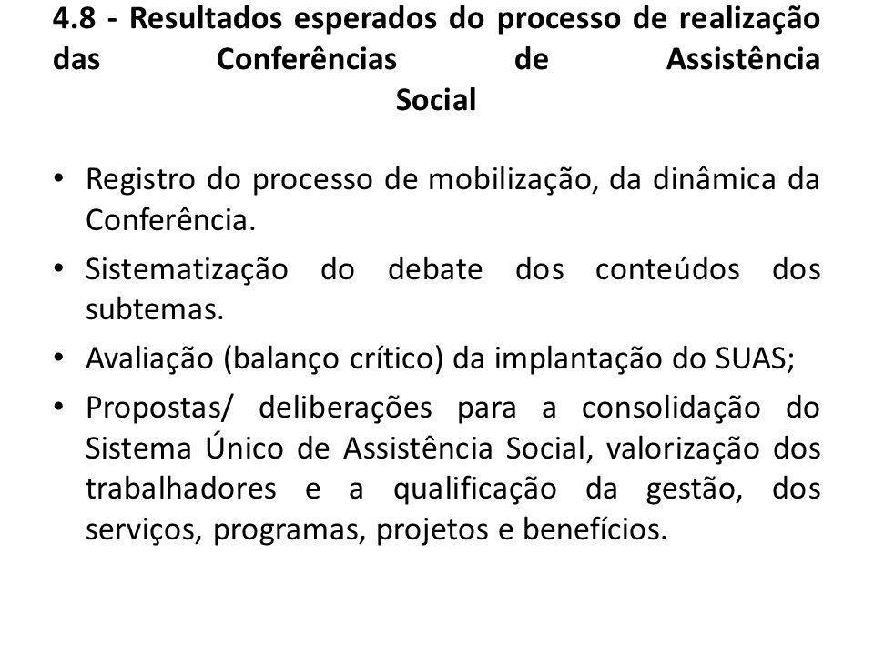 4.8 - Resultados esperados do processo de realização das Conferências de Assistência Social