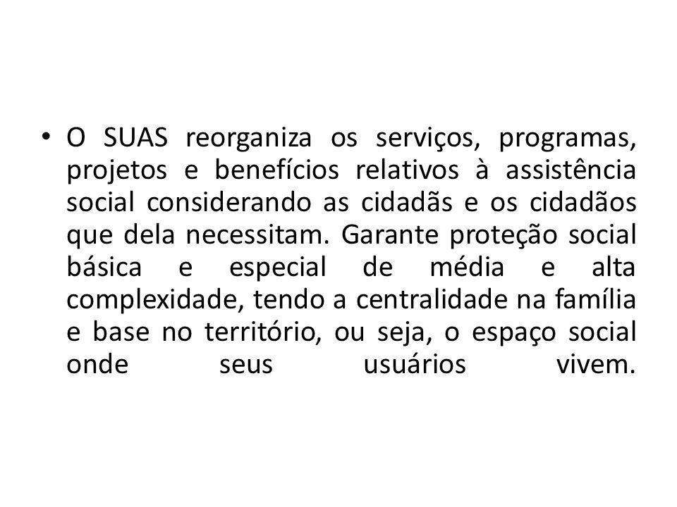 O SUAS reorganiza os serviços, programas, projetos e benefícios relativos à assistência social considerando as cidadãs e os cidadãos que dela necessitam.