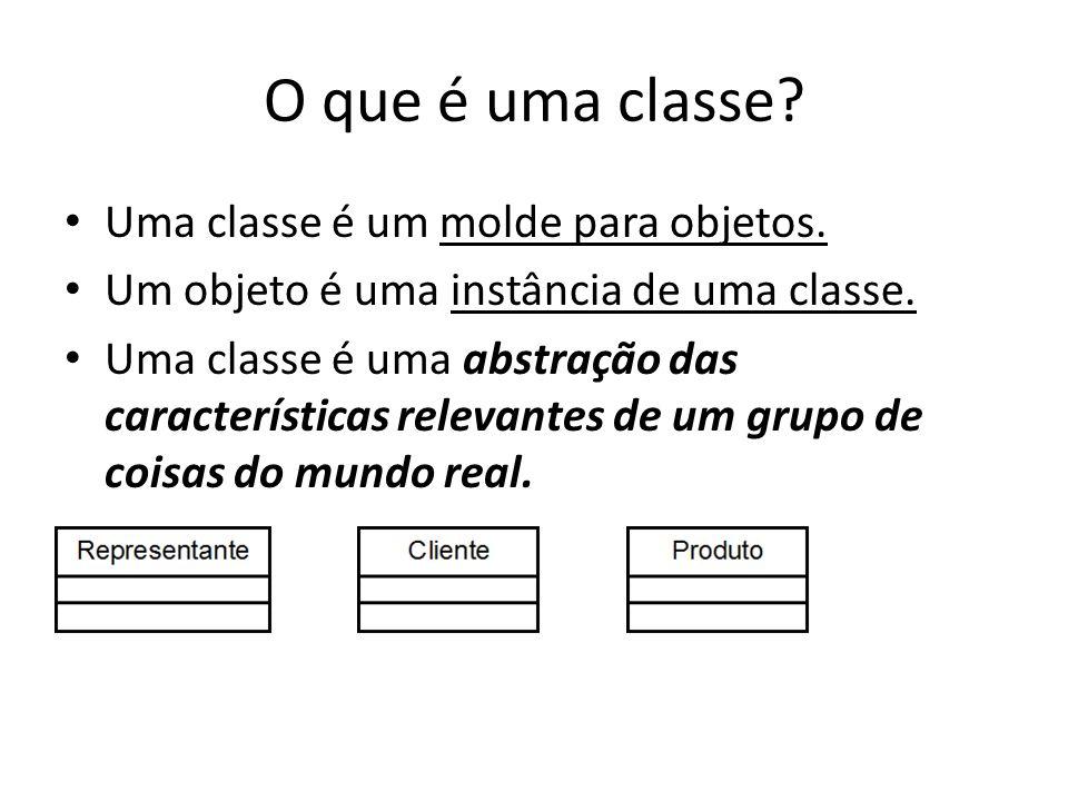 O que é uma classe Uma classe é um molde para objetos.