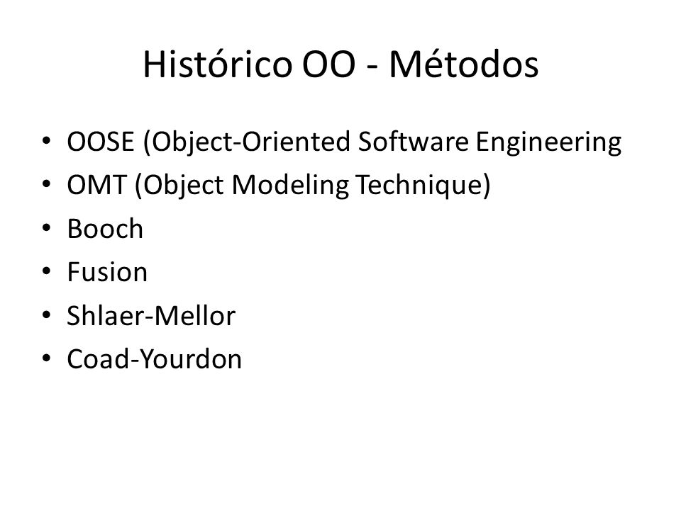 Histórico OO - Métodos OOSE (Object-Oriented Software Engineering