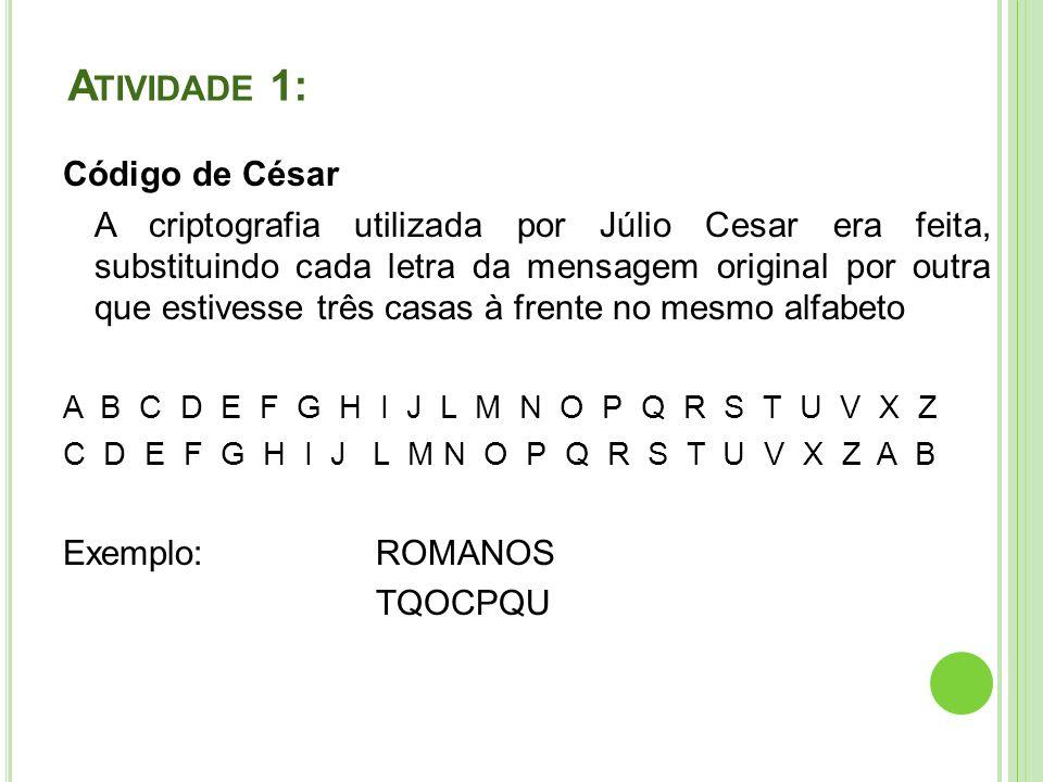 Atividade 1: Código de César
