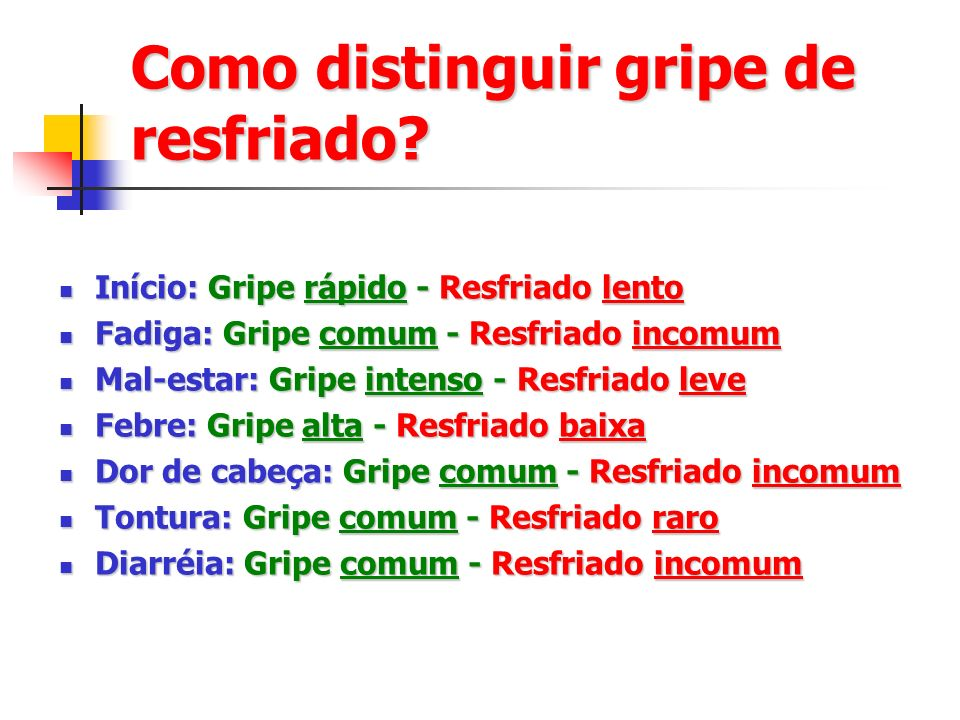 Como distinguir gripe de resfriado