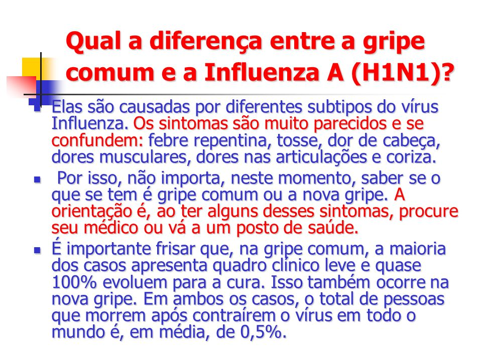 Qual a diferença entre a gripe comum e a Influenza A (H1N1)