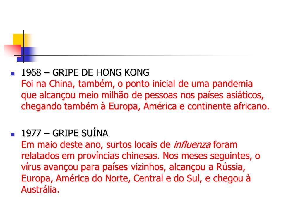 1968 – GRIPE DE HONG KONG Foi na China, também, o ponto inicial de uma pandemia que alcançou meio milhão de pessoas nos países asiáticos, chegando também à Europa, América e continente africano.