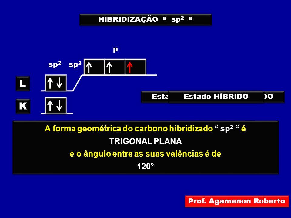 L K A forma geométrica do carbono hibridizado sp2 é TRIGONAL PLANA