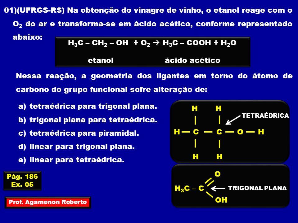 H3C – CH2 – OH + O2  H3C – COOH + H2O