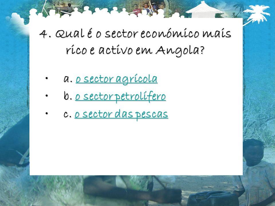 4. Qual é o sector económico mais rico e activo em Angola