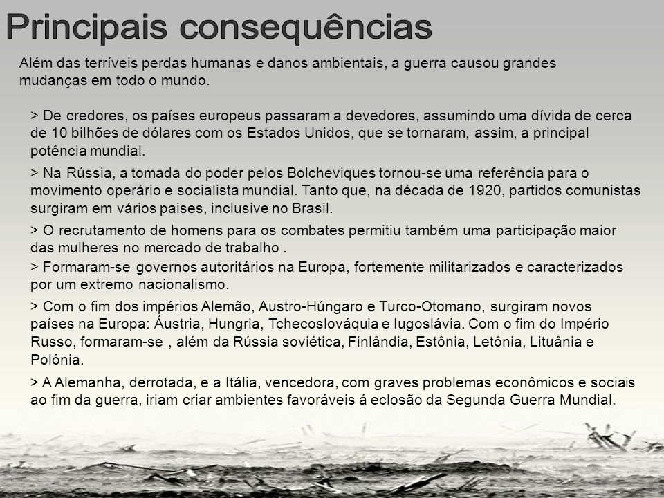 Principais consequencias
