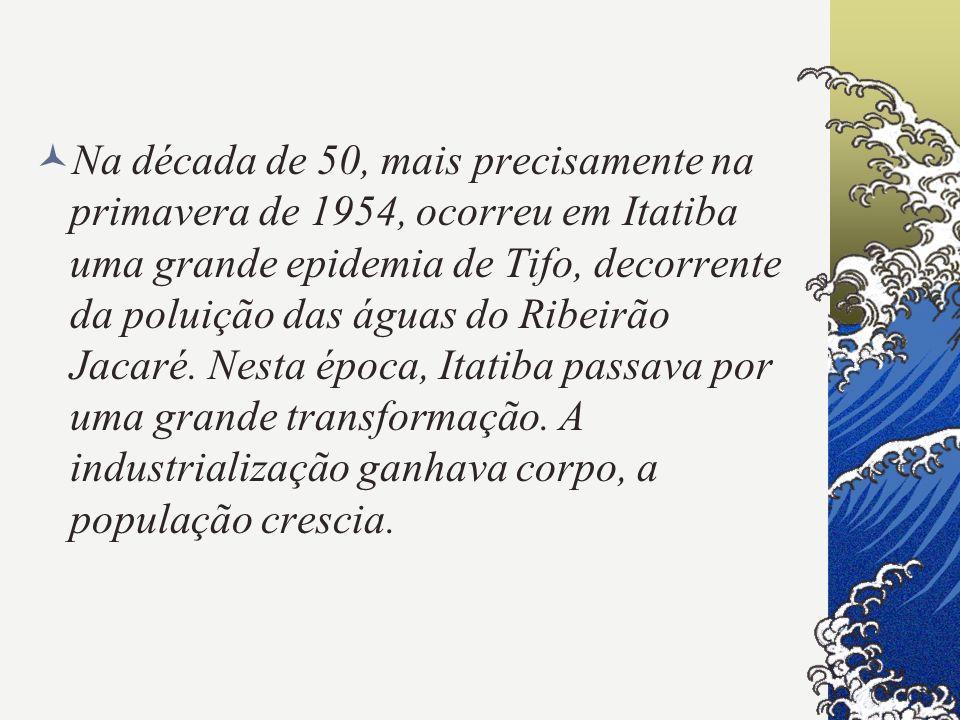 Na década de 50, mais precisamente na primavera de 1954, ocorreu em Itatiba uma grande epidemia de Tifo, decorrente da poluição das águas do Ribeirão Jacaré.