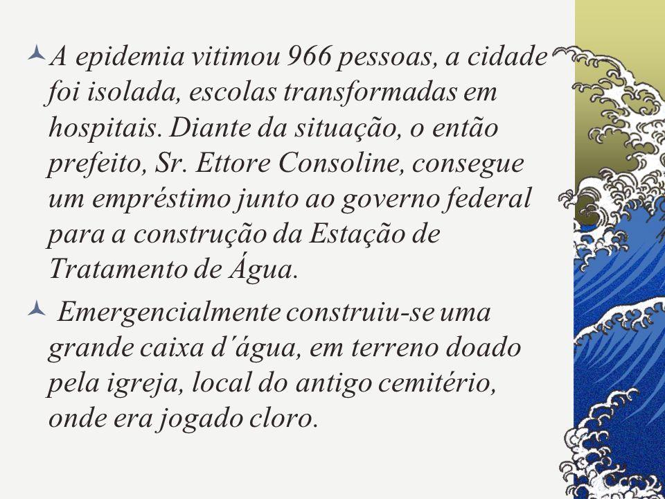 A epidemia vitimou 966 pessoas, a cidade foi isolada, escolas transformadas em hospitais. Diante da situação, o então prefeito, Sr. Ettore Consoline, consegue um empréstimo junto ao governo federal para a construção da Estação de Tratamento de Água.