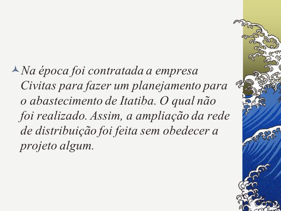 Na época foi contratada a empresa Civitas para fazer um planejamento para o abastecimento de Itatiba.