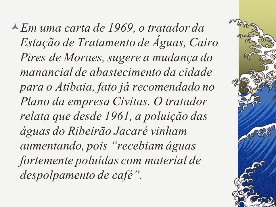 Em uma carta de 1969, o tratador da Estação de Tratamento de Águas, Cairo Pires de Moraes, sugere a mudança do manancial de abastecimento da cidade para o Atibaia, fato já recomendado no Plano da empresa Civitas.