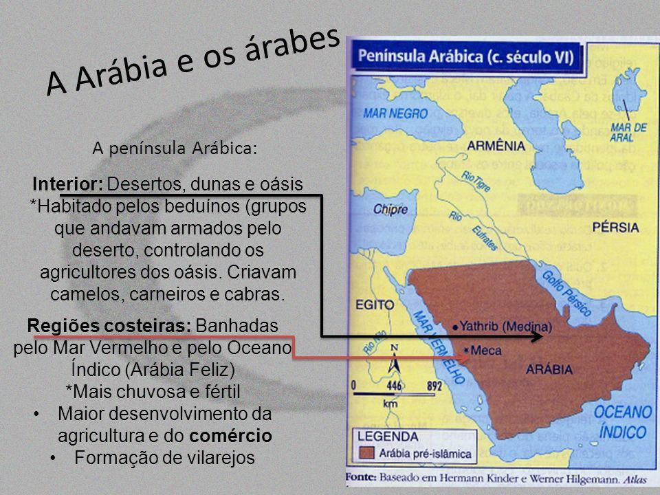 A Arábia e os árabes A península Arábica: