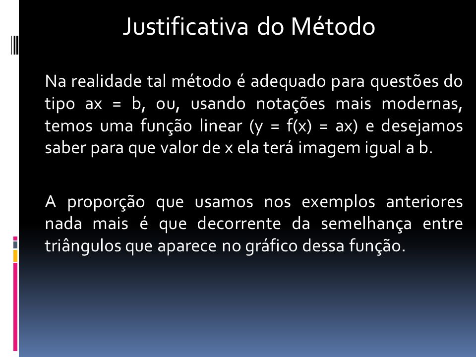 Justificativa do Método
