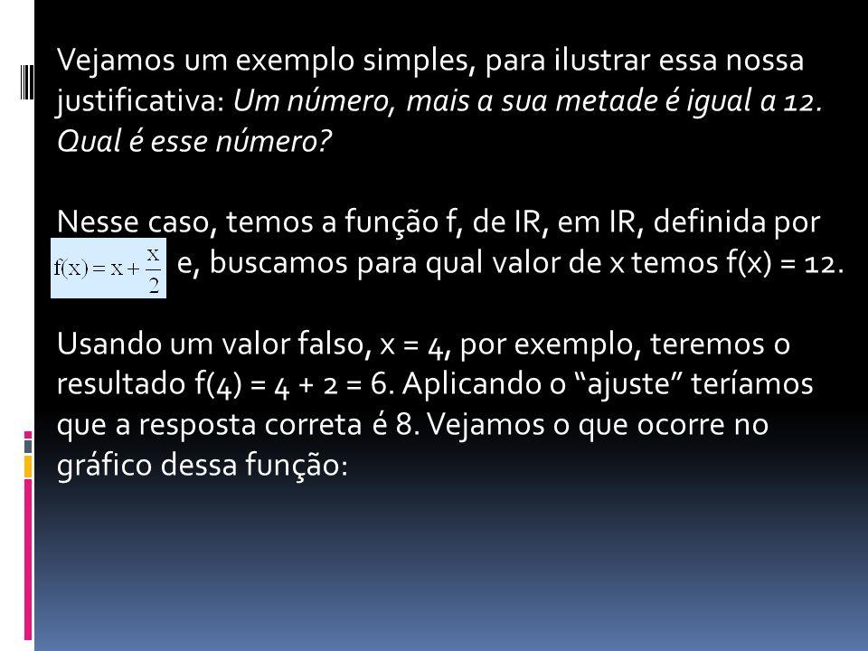 Vejamos um exemplo simples, para ilustrar essa nossa justificativa: Um número, mais a sua metade é igual a 12. Qual é esse número