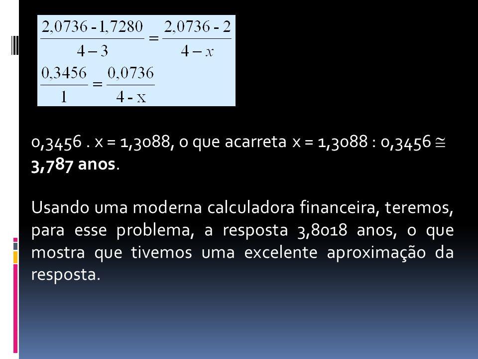 0,3456 . x = 1,3088, o que acarreta x = 1,3088 : 0,3456  3,787 anos.