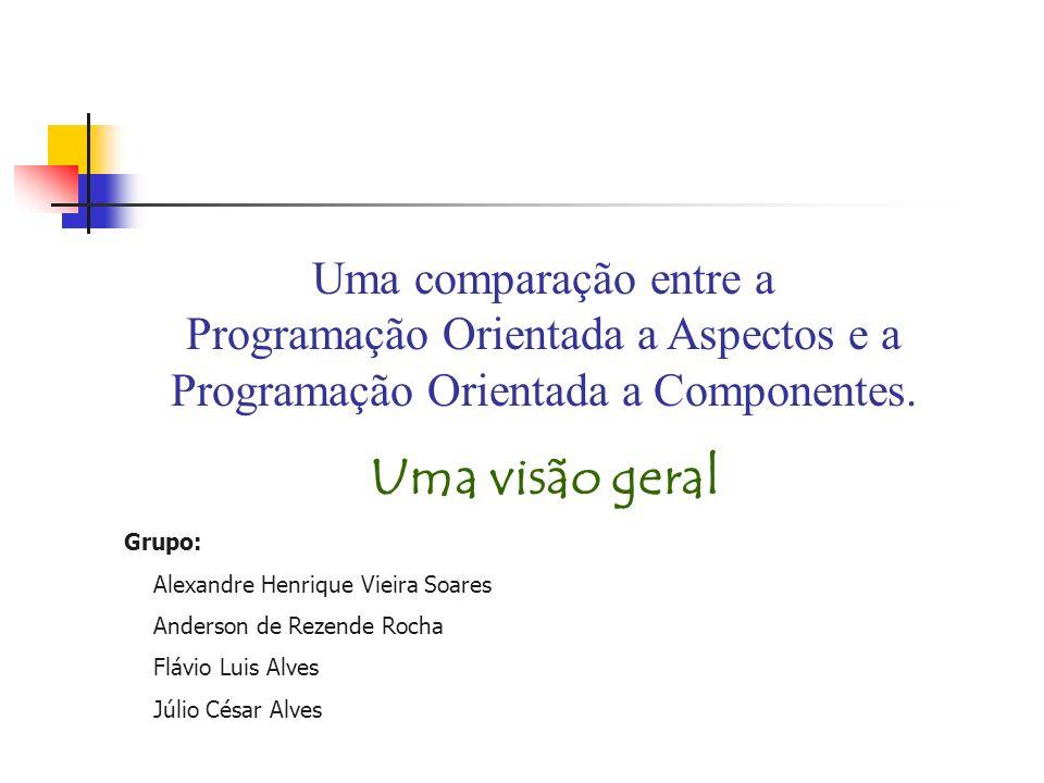 Uma comparação entre a Programação Orientada a Aspectos e a Programação Orientada a Componentes.