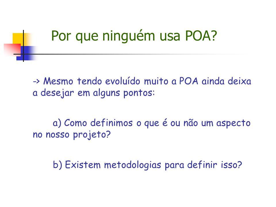 Por que ninguém usa POA -> Mesmo tendo evoluído muito a POA ainda deixa a desejar em alguns pontos: