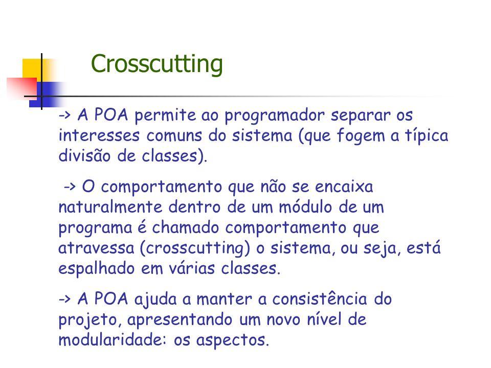 Crosscutting -> A POA permite ao programador separar os interesses comuns do sistema (que fogem a típica divisão de classes).