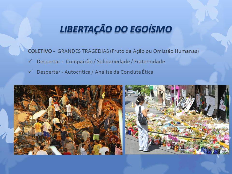 LIBERTAÇÃO DO EGOÍSMO COLETIVO - GRANDES TRAGÉDIAS (Fruto da Ação ou Omissão Humanas) Despertar - Compaixão / Solidariedade / Fraternidade.