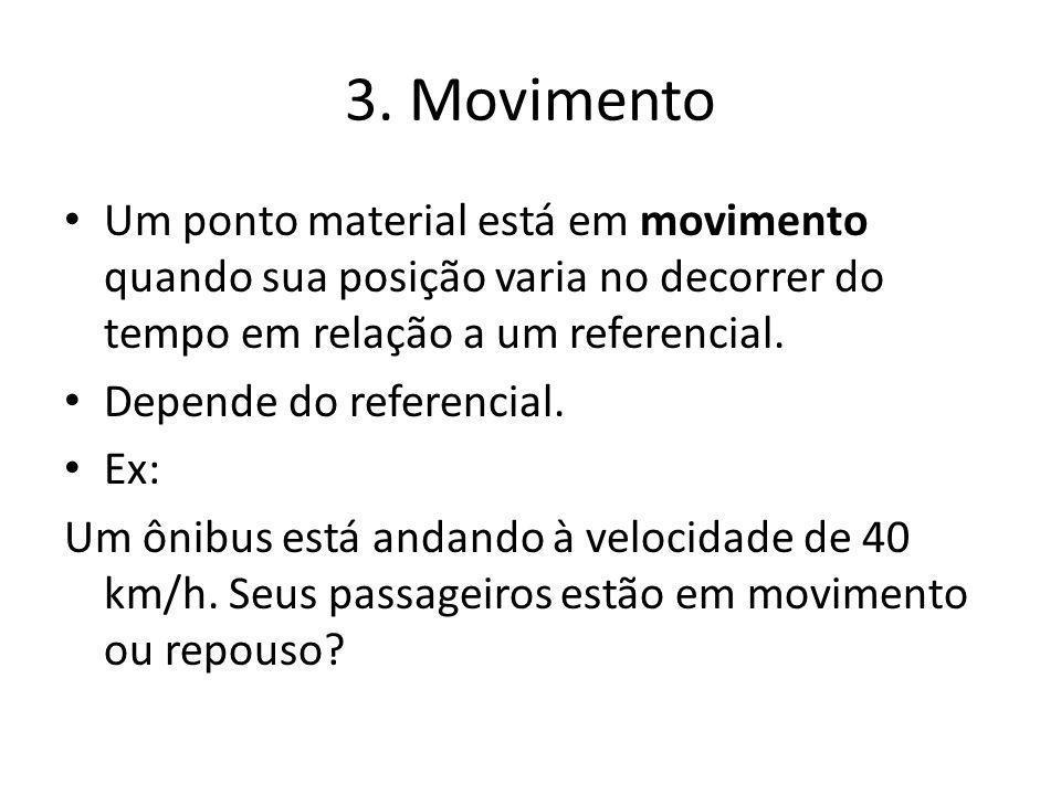 3. Movimento Um ponto material está em movimento quando sua posição varia no decorrer do tempo em relação a um referencial.