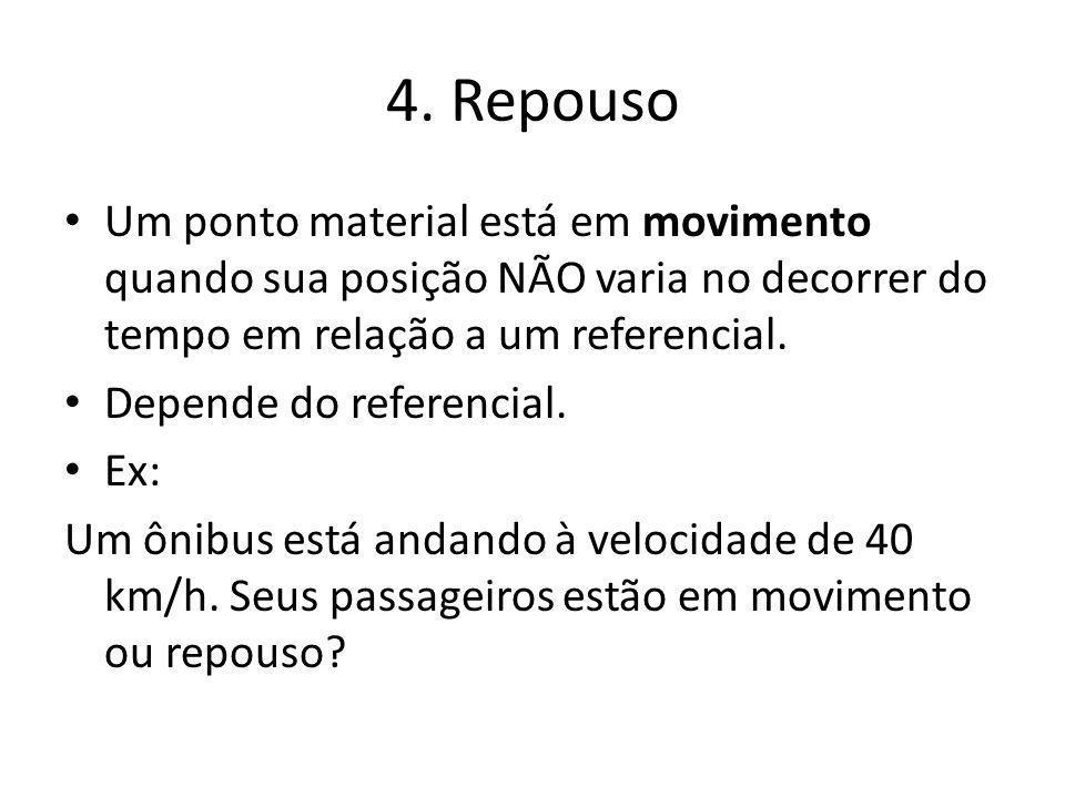 4. Repouso Um ponto material está em movimento quando sua posição NÃO varia no decorrer do tempo em relação a um referencial.
