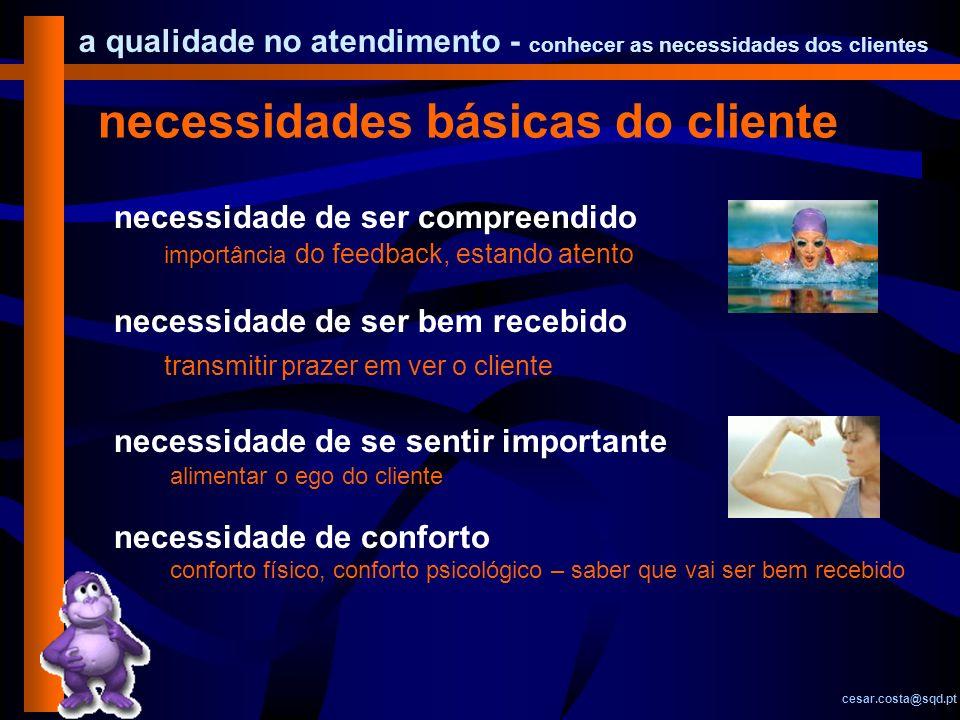 necessidades básicas do cliente
