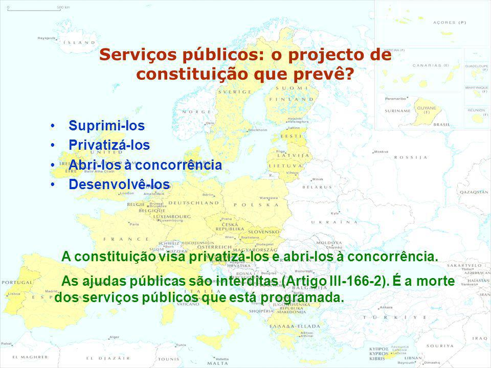 Serviços públicos: o projecto de constituição que prevê