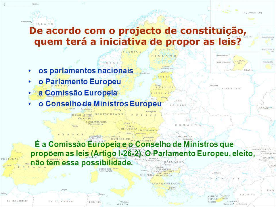 De acordo com o projecto de constituição, quem terá a iniciativa de propor as leis