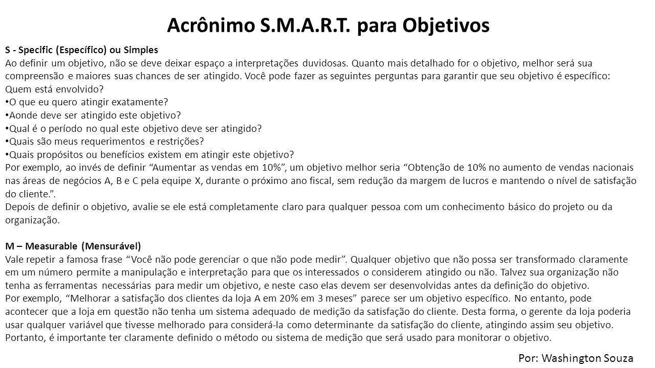 Acrônimo S.M.A.R.T. para Objetivos