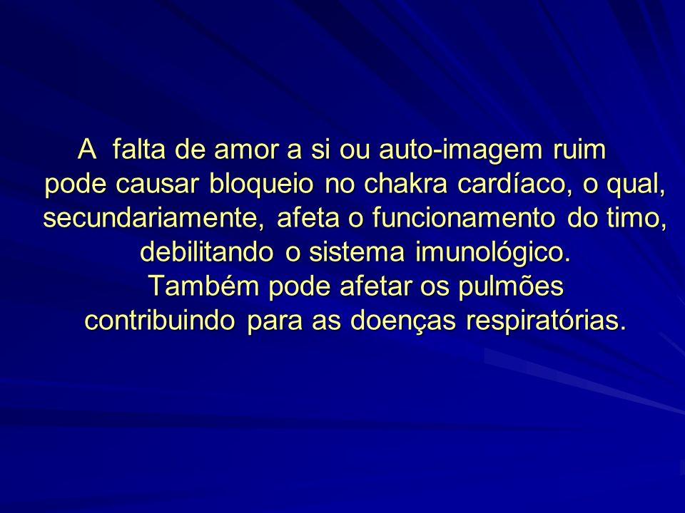 A falta de amor a si ou auto-imagem ruim pode causar bloqueio no chakra cardíaco, o qual, secundariamente, afeta o funcionamento do timo, debilitando o sistema imunológico.