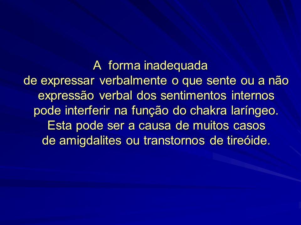 A forma inadequada de expressar verbalmente o que sente ou a não expressão verbal dos sentimentos internos pode interferir na função do chakra laríngeo.