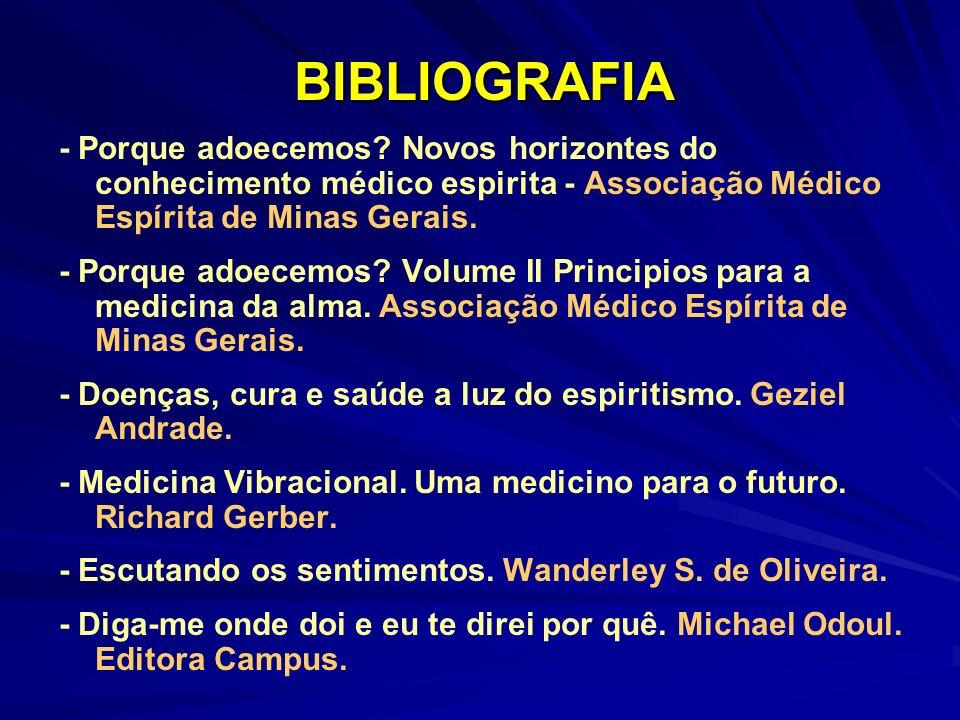 BIBLIOGRAFIA - Porque adoecemos Novos horizontes do conhecimento médico espirita - Associação Médico Espírita de Minas Gerais.