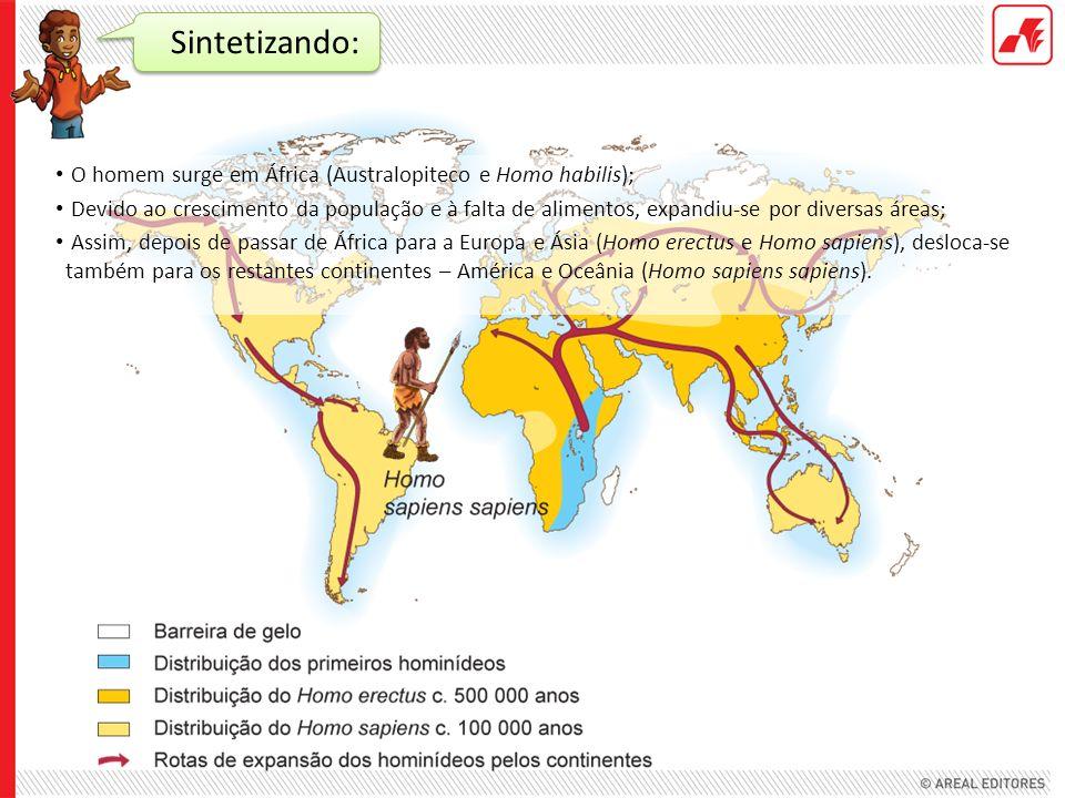 Sintetizando: O homem surge em África (Australopiteco e Homo habilis);