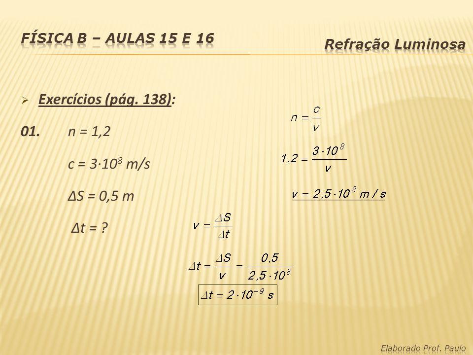 Exercícios (pág. 138): 01. n = 1,2 c = 3·108 m/s ∆S = 0,5 m ∆t =