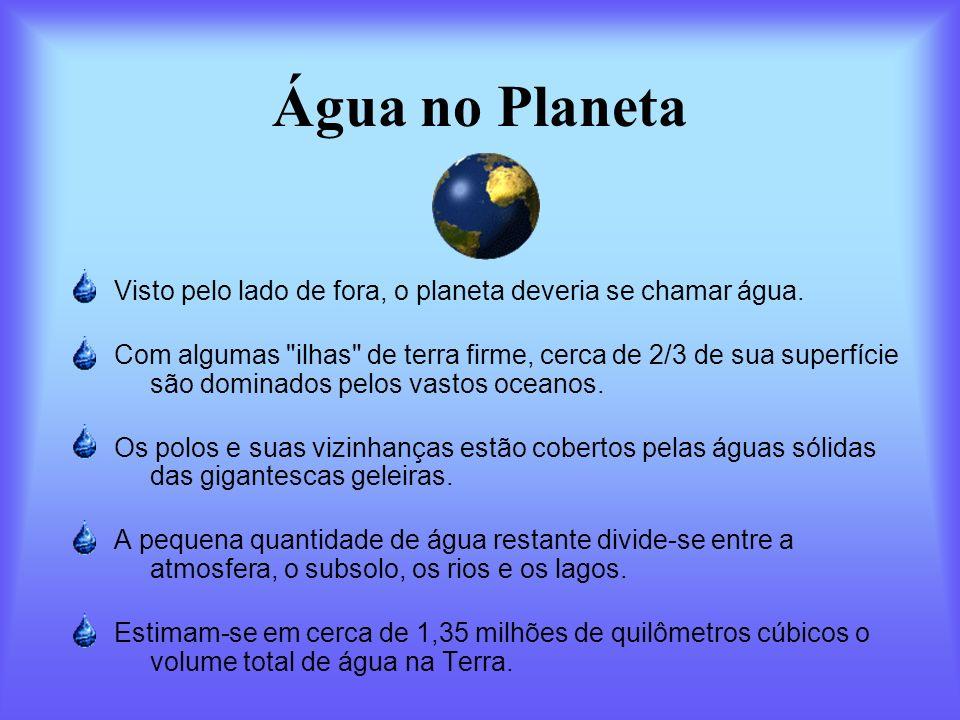Água no Planeta Visto pelo lado de fora, o planeta deveria se chamar água.