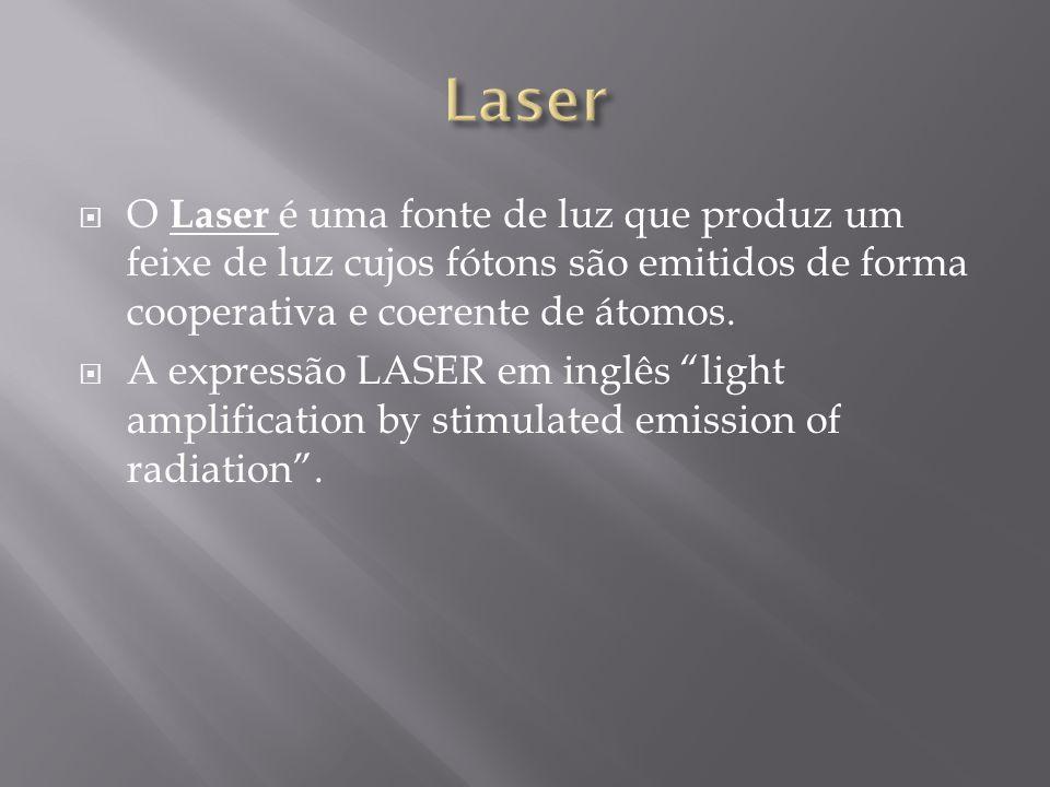 Laser O Laser é uma fonte de luz que produz um feixe de luz cujos fótons são emitidos de forma cooperativa e coerente de átomos.