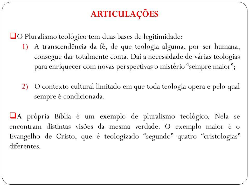 ARTICULAÇÕES O Pluralismo teológico tem duas bases de legitimidade: