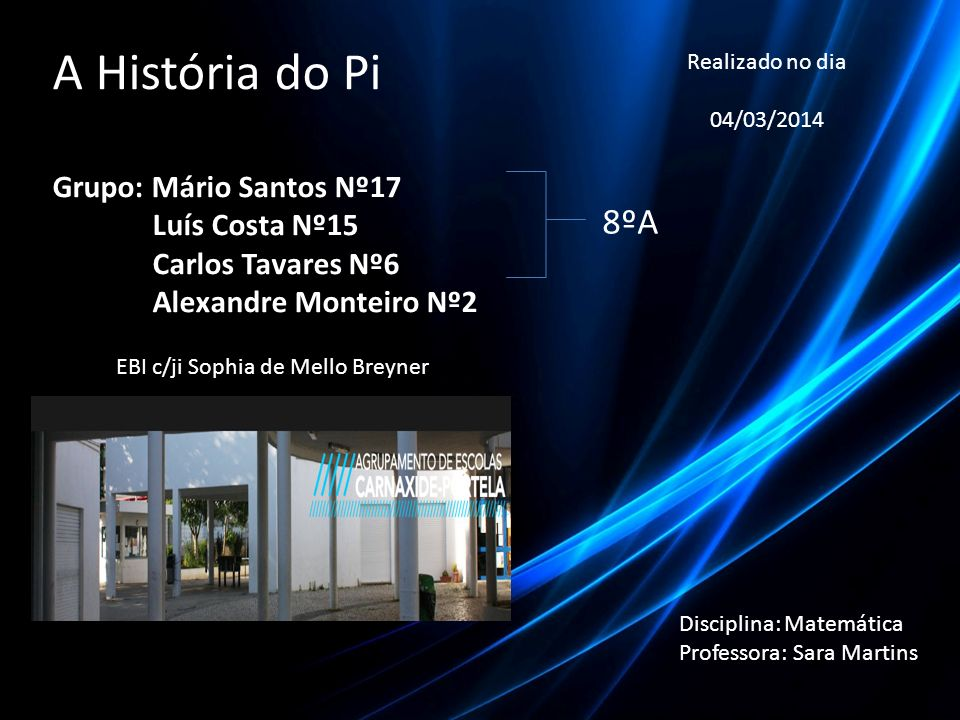 A História do Pi 8ºA Grupo: Mário Santos Nº17 Luís Costa Nº15